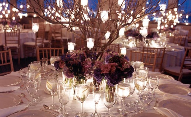 decoración floral para bodas de noche