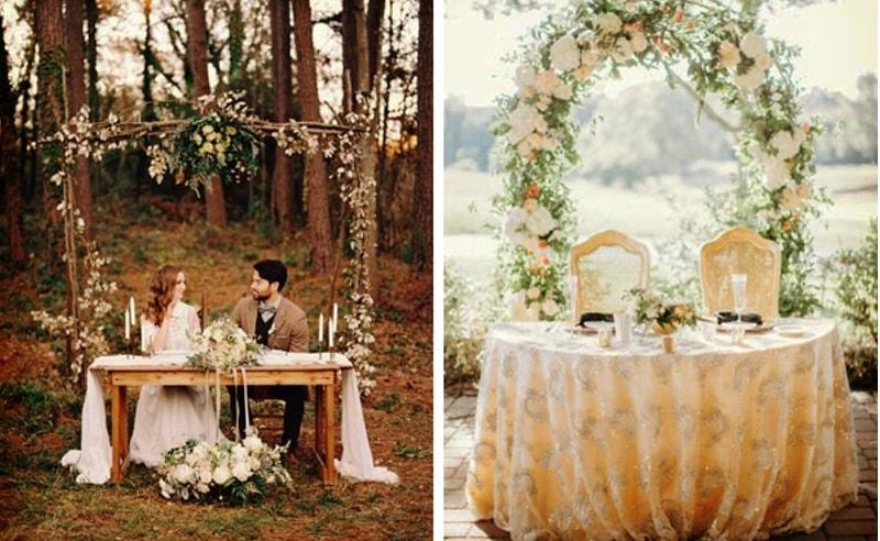 Decoración floral en mesa de novios